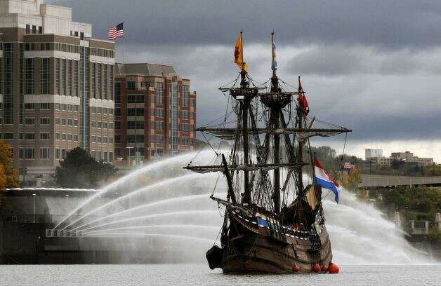 The Half Moon, a replica of the original Dutch ship sailed by Henry Hudson, leaves Albany for Athens in Greene County on Friday, Oct. 14, 2011. Student sailors will undergo a weekend of sail training at Peckham Materials. The Half Moon will end its season with scheduled maintenance the weekend?s sail. (Will Waldron / Times Union)