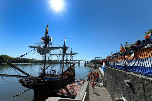 The replica of Henry Hudson's ship the Half Moon fires off a cannon as it arrives at its mooring at the Corning Preserve this morning Sept 19, 2013 in Albany, N.Y. (Skip Dickstein/Times Union)