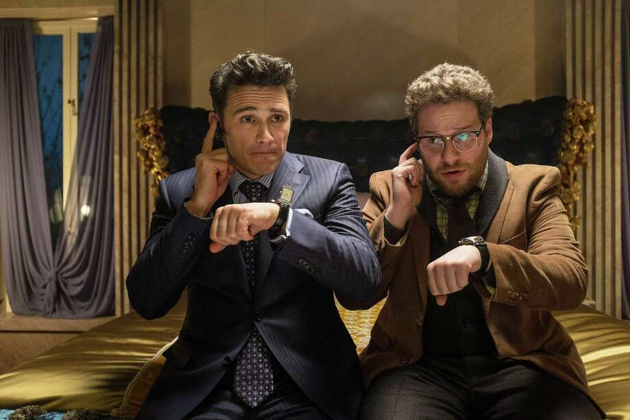 "James Franco, left, and Seth Rogen in ""The Interview."" Photo: Ed Araquel / Associated Press / Columbia Pictures"