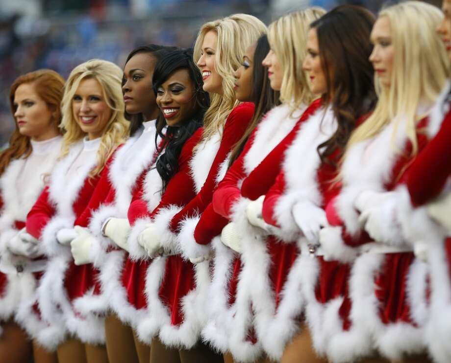 Tennessee Titans cheerleaders took a nod from Santa's closet. Photo: Associated Press
