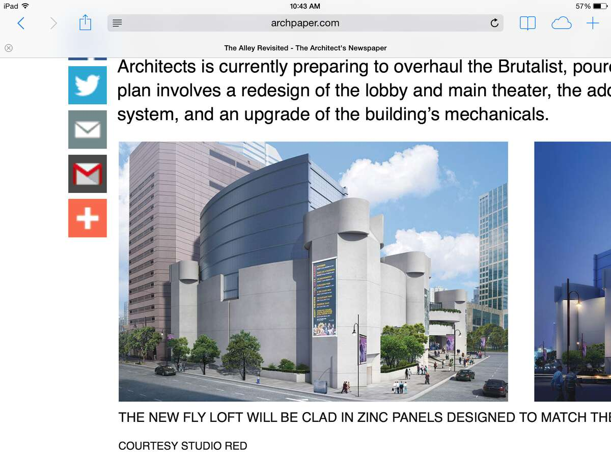 Screenshot from archpaper.com: An architectural rendering of the renovated Alley Theatre, as seen from Smith Street. A spokesperson for Studio Red says that the design for the new, silvery four-story fly space atop the original building has changed. But no new drawings have been made public.