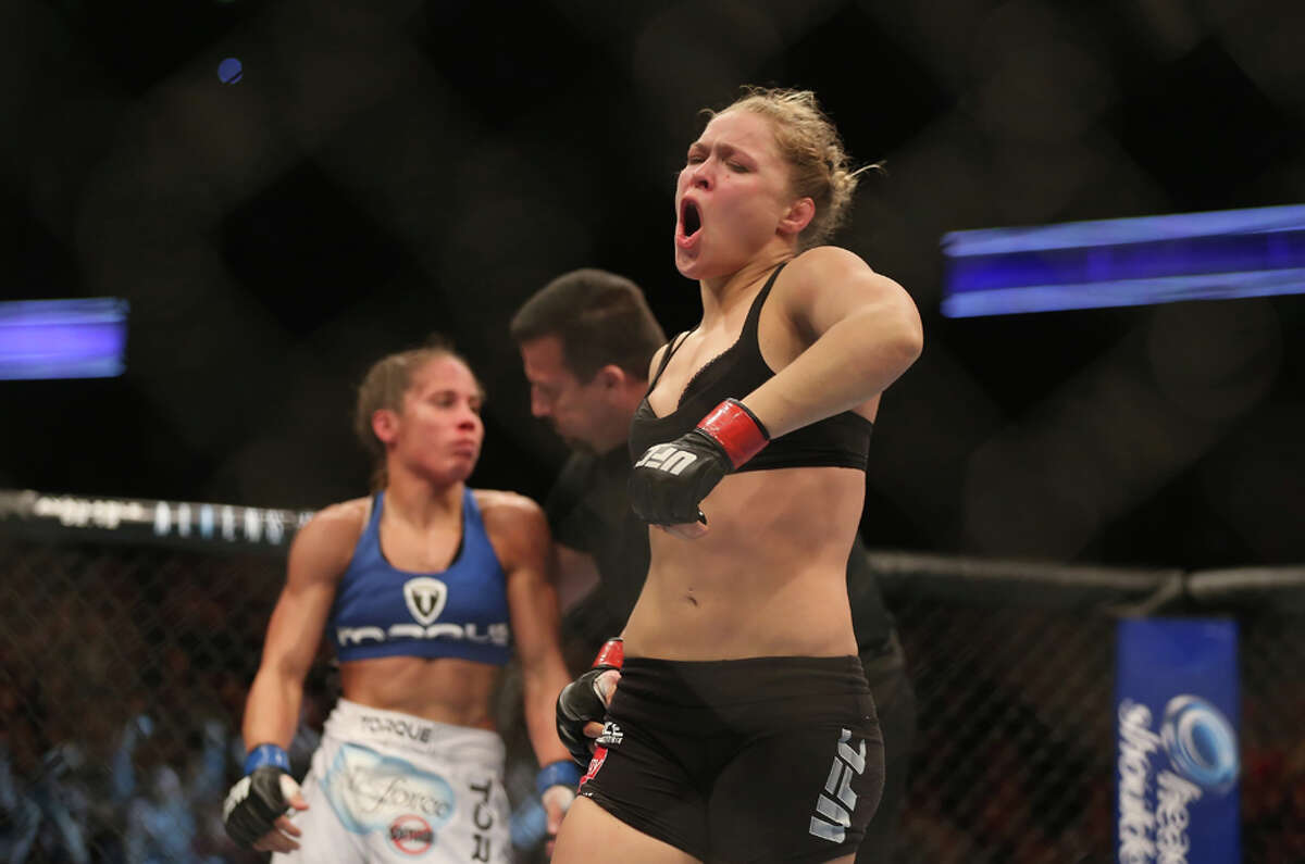 4 minutes, 49 seconds Submission (armbar) vs. Liz Carmouche (Feb. 23, 2013) If the first women's fight in UFC history, Rousey appeared to be in a little trouble as Carmouche took her back. However, Rousey shook her off and took control where she put Carmouche in an armbar in the final minute of the round.