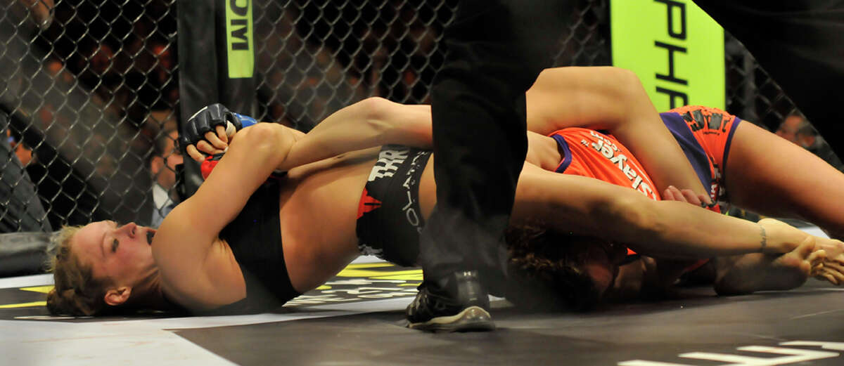 4 minutes, 27 seconds Submission (armbar) vs. Miesha Tate (March 3, 2012) Tate knew she had to be ready for the armbar - which Rousey used to win her first eight professional fights - so she was able to sneak her way out of the first attempt. The second attempt was gruesome with Tate's arm wrenching in an ugly configuration before she tapped out.