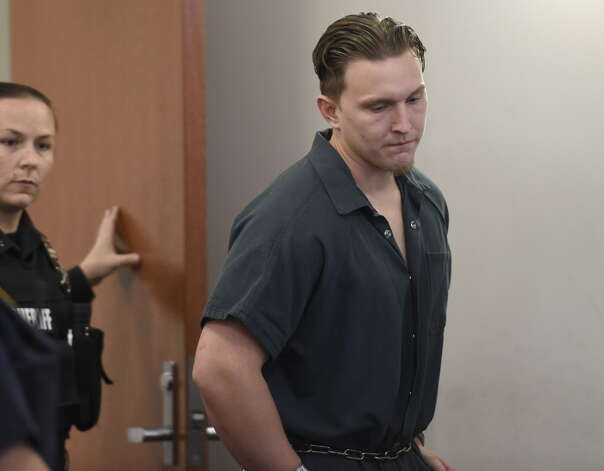 Shane Harding is led in to Troy City Court for his arraignment on multiple charges Thursday morning Oct. 16, 2014  in Troy, N.Y.     (Skip Dickstein/Times Union archive) Photo: SKIP DICKSTEIN / 10029048A