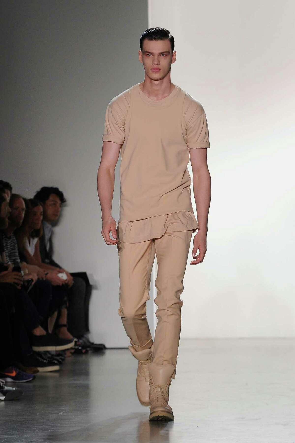 A neutral color palette is a key trend in menswear for spring 2015. Here's how to wear it as seen in this runway look from Calvin Klein's Spring/Summer 2015 collection.