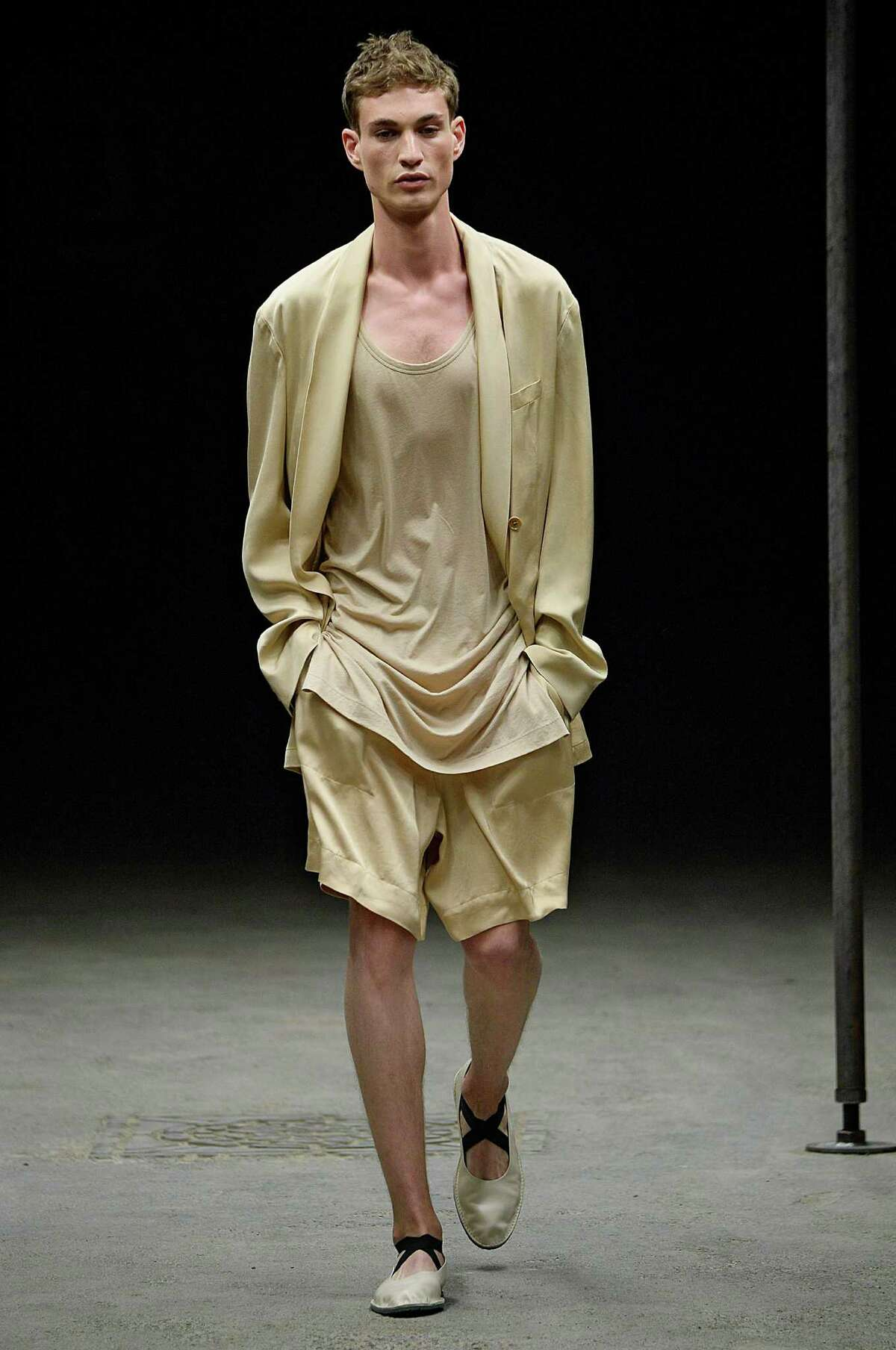 A neutral color palette is a key trend in menswear for spring 2015. Here's how to wear it as seen in this runway look from Dries Van Noten's Spring/Summer 2015 collection.