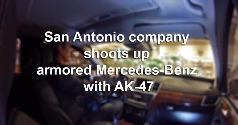 A YouTube video from San Antonio-based Texas Armoring Corporation, which supplies armored vehicles, shows just the opposite of what many might deem common sense. In it, Lawrence Kosub, the company's sales and export compliance manager, fires an AK-47 at an armored Mercedes-Benz with the company's president and CEO R. Trent Kimball sitting in the driver's seat.Scroll through to see what happens next. Photo: Fechter, Joshua I, YouTube