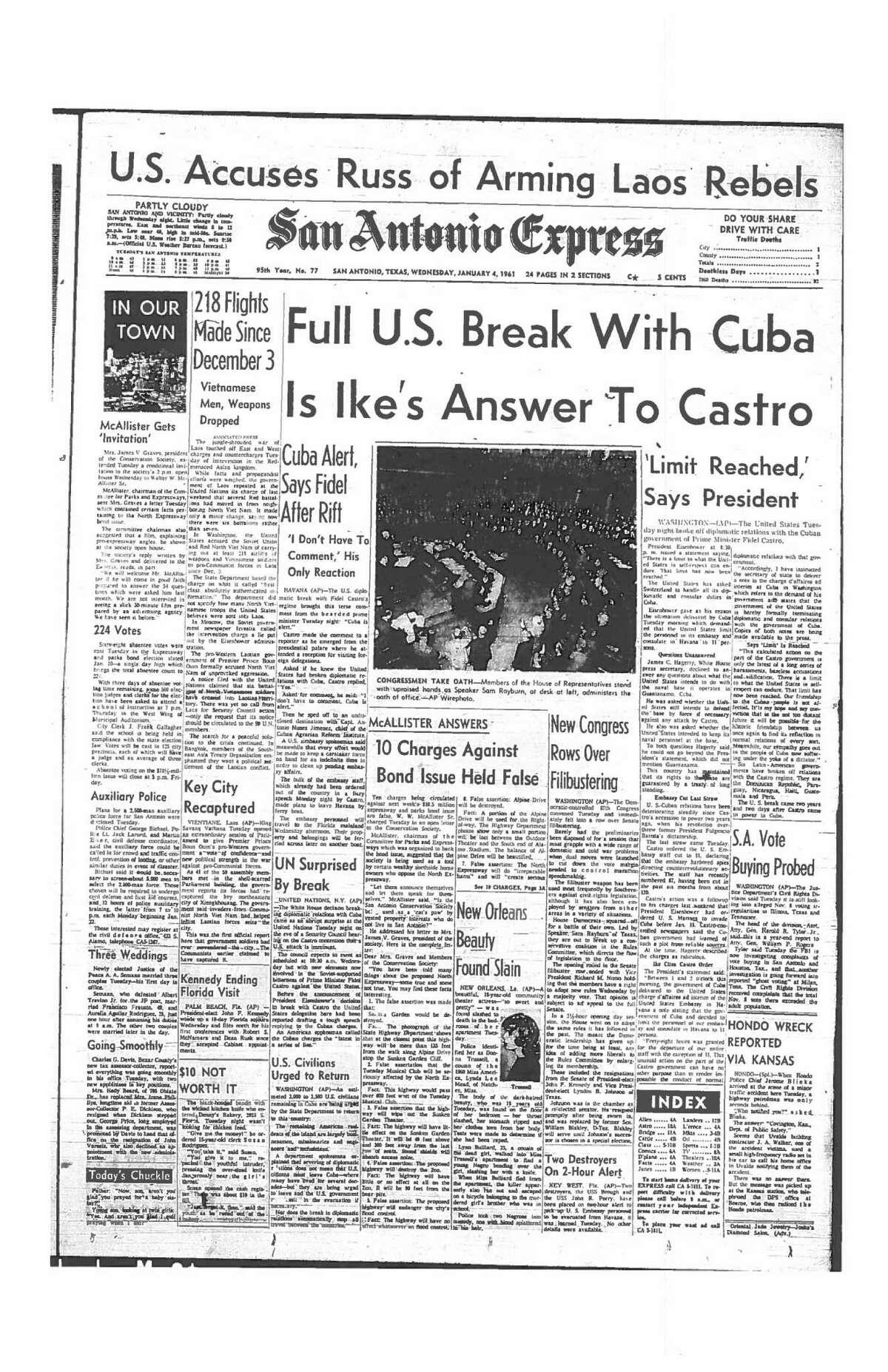 Jan. 4, 1961: Full U.S. Break With Cuba Is Ike's Answer To Castro