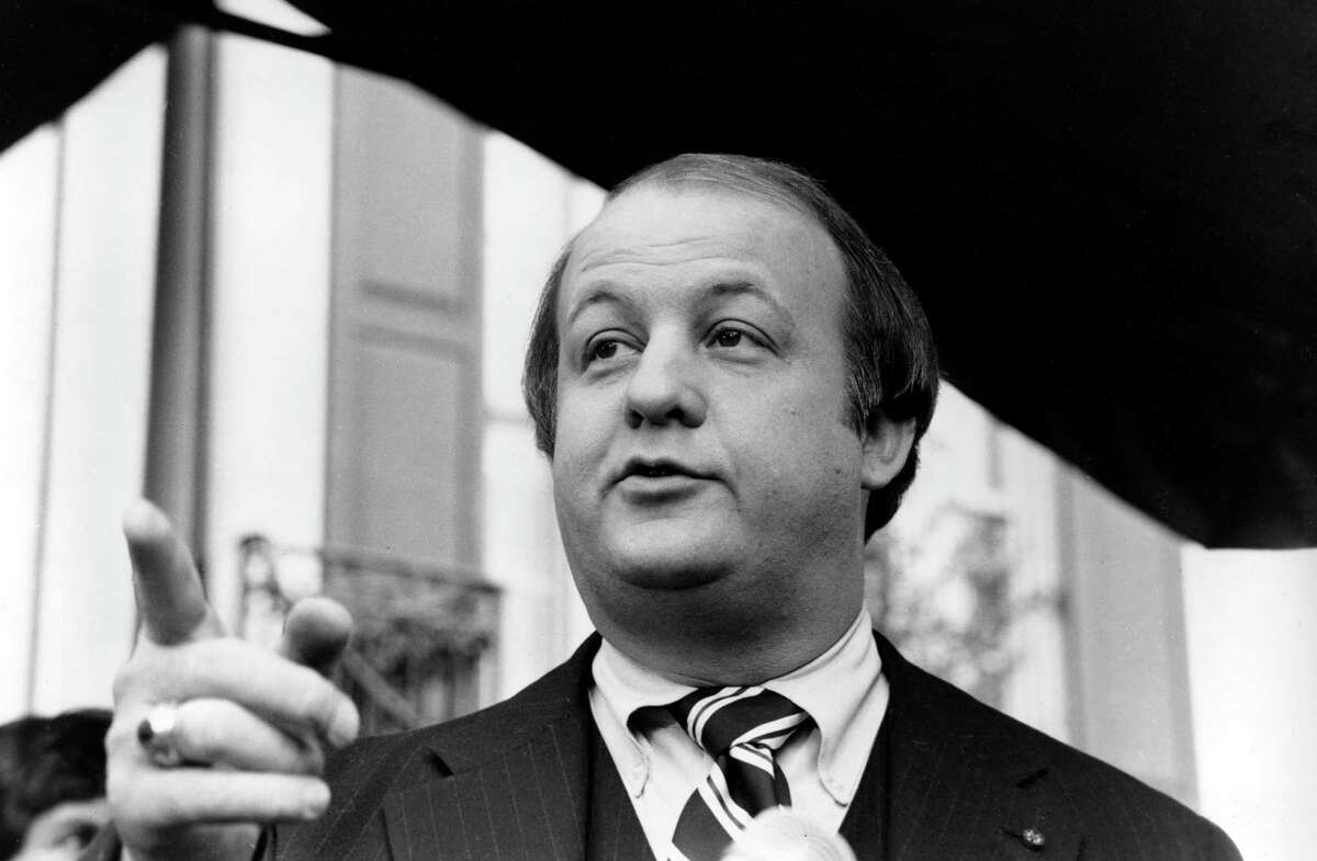 FILE - In this Jan. 6, 1981, file photo James Brady, selected by president-elect Ronald Reagan to become his press secretary, talks to reporters after the announcement was made in Washington. Brady, the affable, witty press secretary who survived a devastating head wound in the 1981 assassination attempt on President Ronald Reagan and undertook a personal crusade for gun control, died Monday, Aug. 4, 2014. He was 73.