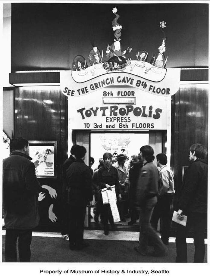 """The Bon Marche elevators used to ascend to """"Toytropolis"""" and the """"Grinch cave"""" during the holidays in downtown Seattle. Photo, 1971, copyright MOHAI, 2009.20.198. Photo: MOHAI"""