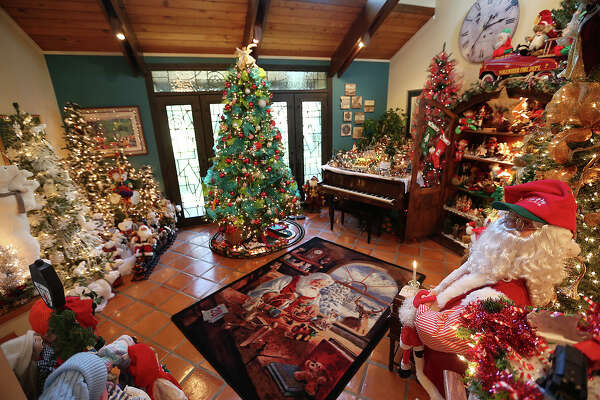 Christmas decorations dominate most of the living areas of the Tim and Marty Morgan's residence in Schertz. For the past 22 years, the Morgan family has been designing elaborate Christmas scenes inside their home.