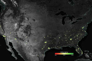 NASA analysis of U.S. city lights during the holiday season. The more green the tone of the lit up areas, the more difference there is between the holidays and the rest of the year.