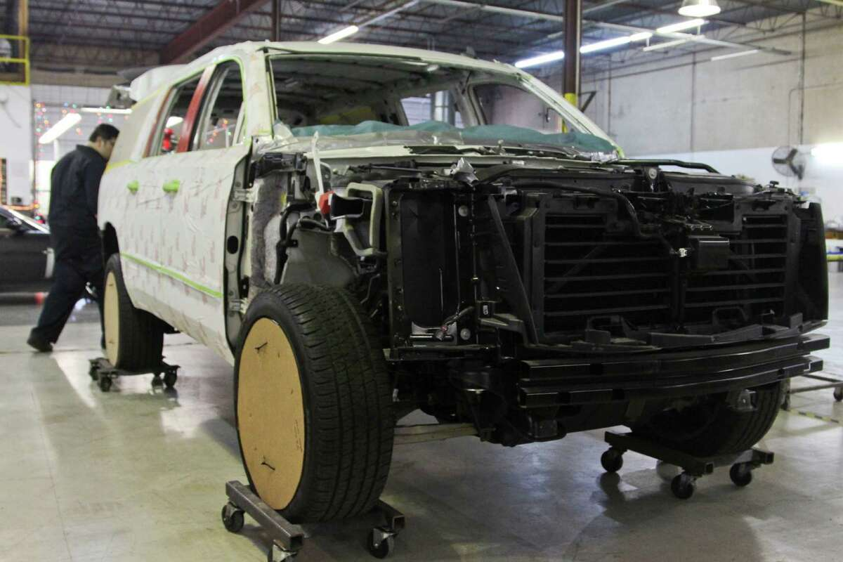 Texas Armoring Corporation strips vehicles down to the bare essentials to install and weld steel plating throughout the vehicles. Workers then put all of the pieces back to make the vehicle look like it did prior to the customization.