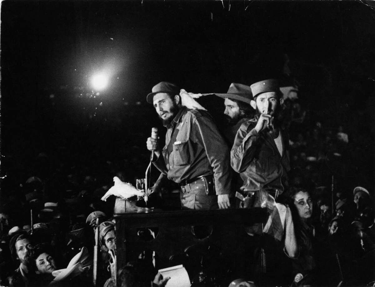 Cuba's Fidel Castro, after the Cuban revolution triumphed in 1959, speaks to supporters at the Batista military base he renamed Ciudad Libertad after dictator Fulgencio Batista fled the country.