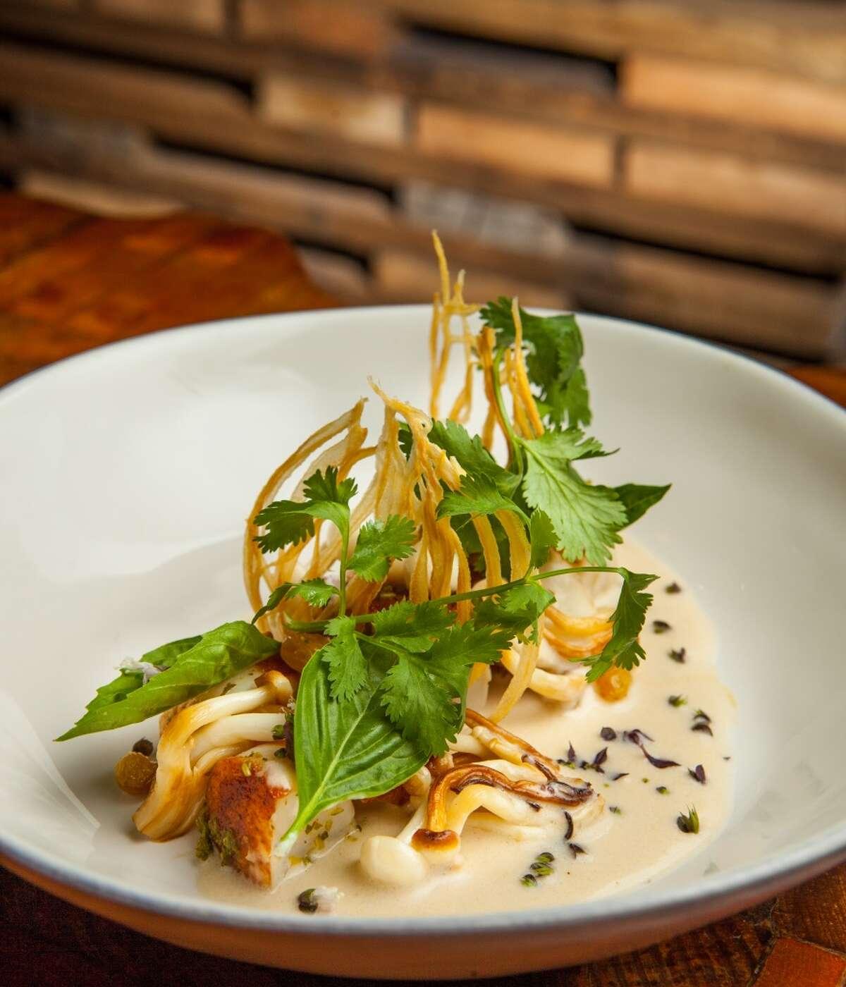 Uchi sushi restaurant's Thai hotate, scallop, hon, shimeji, lime, and ebi, photographed, Tuesday, July 22, 2014, in Houston. ( Nick de la Torre )