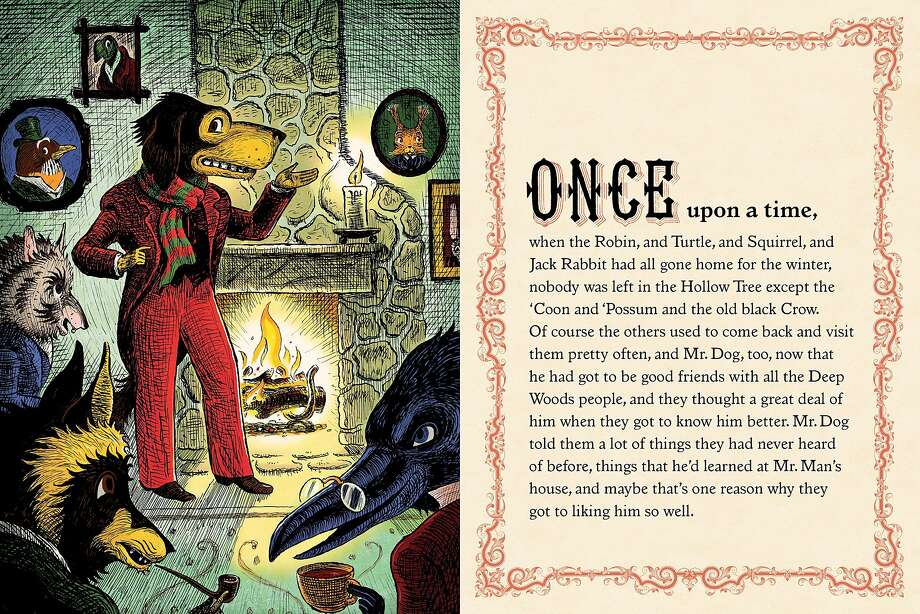 """A page from 'Mr. Dog's Christmas at the Hollow Tree Inn,"""" written in 1898 and long out of print, but brought back to print by Betsy Coates, Adam McCauley and Cynthia Wigginton. Photo: Courtesy Betsy Coates"""