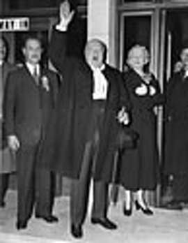 Sir Winston Leonard Spencer Churchill 1874 1965 British politician and Prime Minister at the declaration of the Woodford election poll in May 1955 with Lady Churchill who has her hand in a sling     Date: May 1955