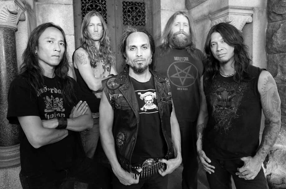 Death Angel members: Ted Aguilar (left), Damien Sisson, Mark Osegueda, Will Carroll and Rob Cavestany. Photo: Courtesy Of Death Angel / ONLINE_YES