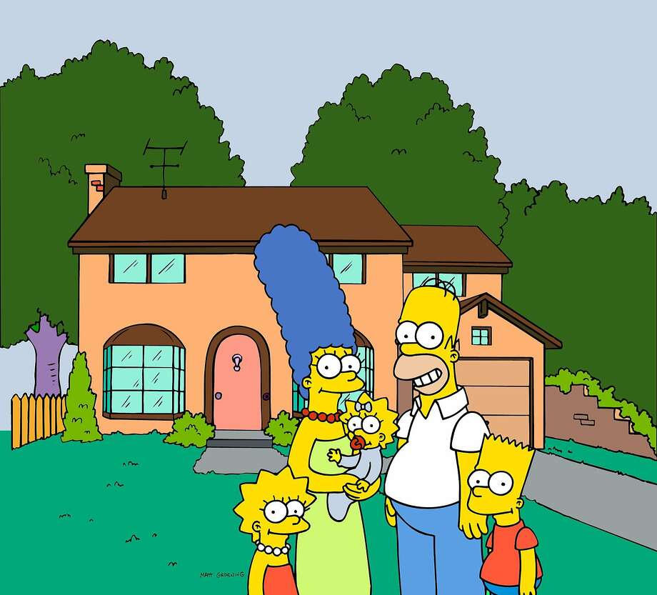 """FILE - This undated image from files, provided by Fox Broadcasting from """"The Simpsons,"""" shows the popular cartoon family posing in front of their home, from left, Lisa , Marge , Maggie, Homer and Bart Simpson.  University students have been studying Homer's """"The Odyssey"""" for centuries. More recently, Homer Simpson's """"Odyssey,"""" and a quarter-century of episodes from the animated sitcom have been undergoing similar scrutiny at several college campuses around the country. (AP Photo/Fox Broacasting Co., File) 1998 FOX BROADCASTING Photo: Anonymous, Associated Press"""