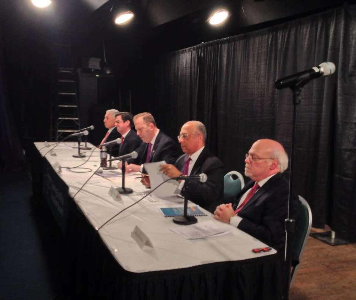 Members of the state Gaming Commission Siting Board announce their recommendations for casino sites during a meeting in Albany, NY, on Dec. 17, 2014. (John Carl D'Annibale/Times Union)