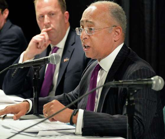 Board member William Thompson, Jr. announces the New York Gaming Facility Location Board's selection of Schenectady as a casino site during a meeting Wednesday Dec. 17, 2014, in Albany, NY.   (John Carl D'Annibale / Times Union) Photo: John Carl D'Annibale / 00029888A