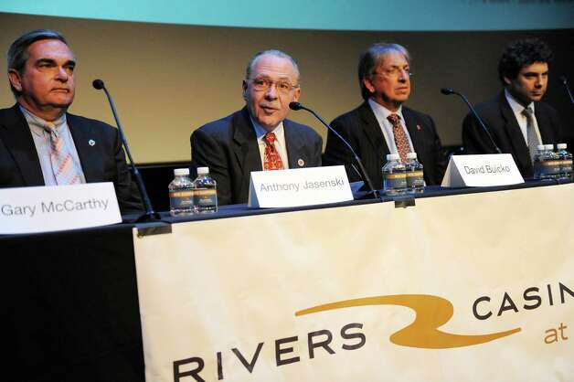 Anthony Jasenski, Chair of the County Legislature, second from left, speaks during a news conference Schenectady receiving the nod for a casino site on Wednesday Dec. 17, 2014, at Proctors Theatre in Schenectady, N.Y.  Joining him, from left, are Mayor Gary McCarthy, David Buicko, COO of the Galesi Group and Greg Carlin, CEO of Rush Street Gaming. (Cindy Schultz / Times Union) Photo: Cindy Schultz / 00029889A