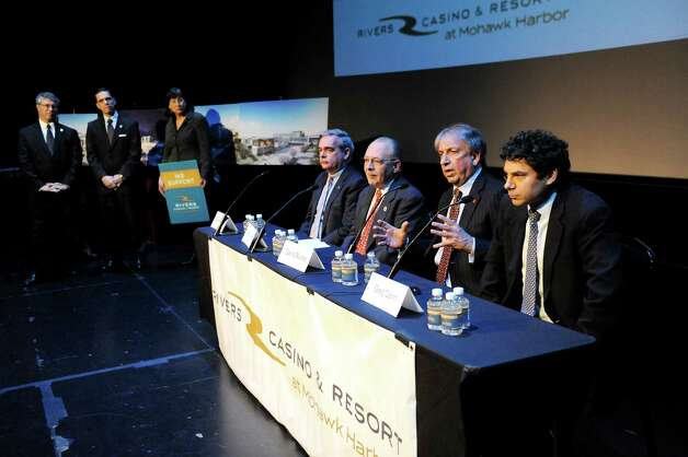 David Buicko, COO of the Galesi Group, second from right, speaks during a news conference on Schenectady receiving the nod for a casino site on Wednesday Dec. 17, 2014, at Proctors Theatre in Schenectady, N.Y. Joining him at the table, from left, are Mayor Gary McCarthy, Anthony Jasenski, Chair of the County Legislature, and Greg Carlin, CEO of Rush Street Gaming. (Cindy Schultz / Times Union) Photo: Cindy Schultz / 00029889A