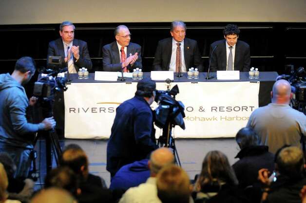 David Buicko, COO of the Galesi Group, second from right, speaks during a news conference on Schenectady receiving the nod for a casino site on Wednesday Dec. 17, 2014, at Proctors Theatre in Schenectady, N.Y. Joining him, from left, are Mayor Gary McCarthy, Anthony Jasenski, Chair of the County Legislature, and Greg Carlin, CEO of Rush Street Gaming. (Cindy Schultz / Times Union) Photo: Cindy Schultz / 00029889A