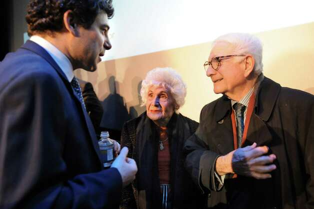 Greg Carlin, CEO of Rush Street Gaming, left, talks with Jane Golub, center, and her husband Neil Golub, executive chairman of Price Chopper, following a news conference on the casino announcement on Wednesday Dec. 17, 2014, at Proctors Theatre in Schenectady, N.Y. (Cindy Schultz / Times Union) Photo: Cindy Schultz / 00029889A