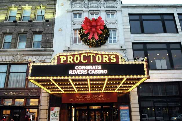 The marquee announces Schenectady's selection for a casino site on Wednesday Dec. 17, 2014, at Proctors Theatre in Schenectady, N.Y. (Cindy Schultz / Times Union) Photo: Cindy Schultz / 00029889A