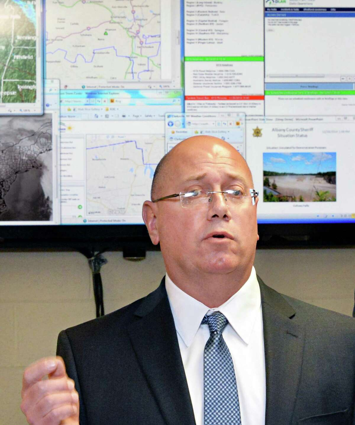 Dennis Stewart of Earth Networks Ð WeatherBug Energy Solutions speaks during a news conference at the Albany County Sheriff Public Safety Building Wednesday Dec. 17, 2014, in Clarksville, NY. (John Carl D'Annibale / Times Union)