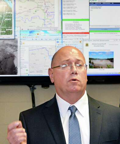Dennis Stewart of Earth Networks Ð WeatherBug Energy Solutions speaks during a news conference at the Albany County Sheriff Public Safety Building Wednesday Dec. 17, 2014, in Clarksville, NY.  (John Carl D'Annibale / Times Union) Photo: John Carl D'Annibale / 00029892A