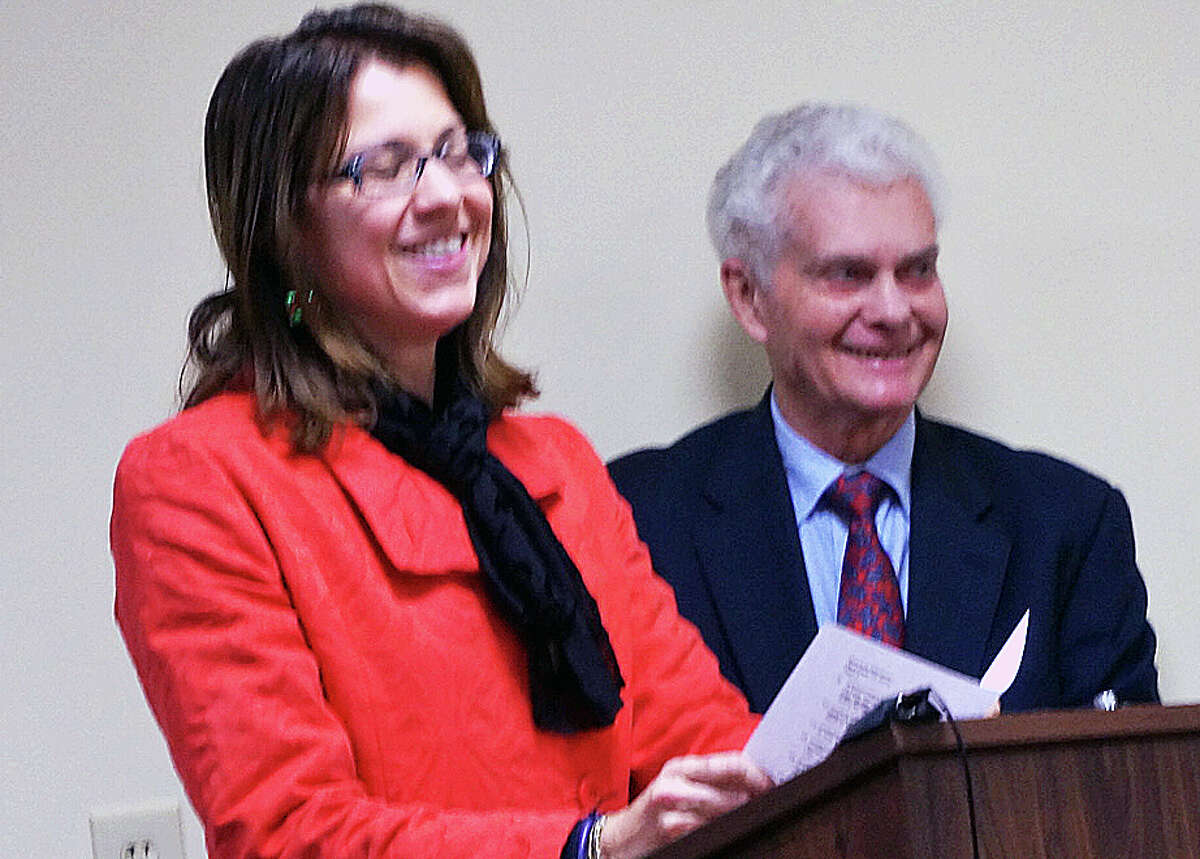 Sherri Steeneck nominated Peter Penczer, right, who was named Fairfielder of the Year.