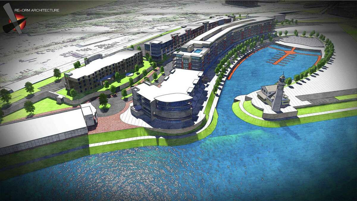 Rendering showing proposed development plans for the the former ALCO site on Erie Blvd in Schenectady. The development is called Mohawk Harbor. (City of Schenectady) ORG XMIT: MER2014052011380353