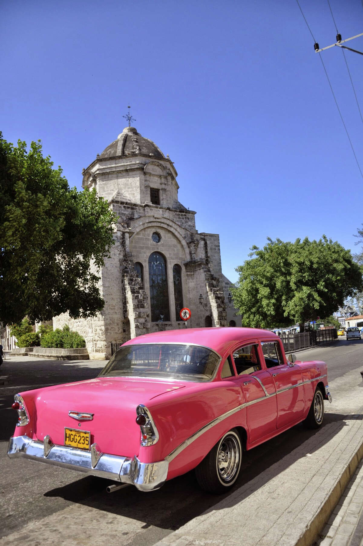 A 1956 Chevy drives through Old Havana. Because of the U.S. embargo, Cuba still has many old cars.