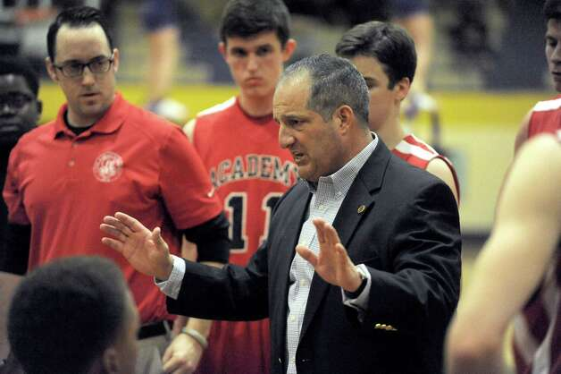 Albany Academy's head coach Brian Fruscio during their boy's high school basketball game against Troy on Wednesday Dec. 17, 2014 in Troy ,N.Y.  (Michael P. Farrell/Times Union) Photo: Michael P. Farrell / 00029859A