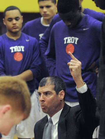 Troy's head coach Rich Hurley during their boy's high school basketball game against Albany Academy on Wednesday Dec. 17, 2014 in Troy ,N.Y.  (Michael P. Farrell/Times Union) Photo: Michael P. Farrell / 00029859A