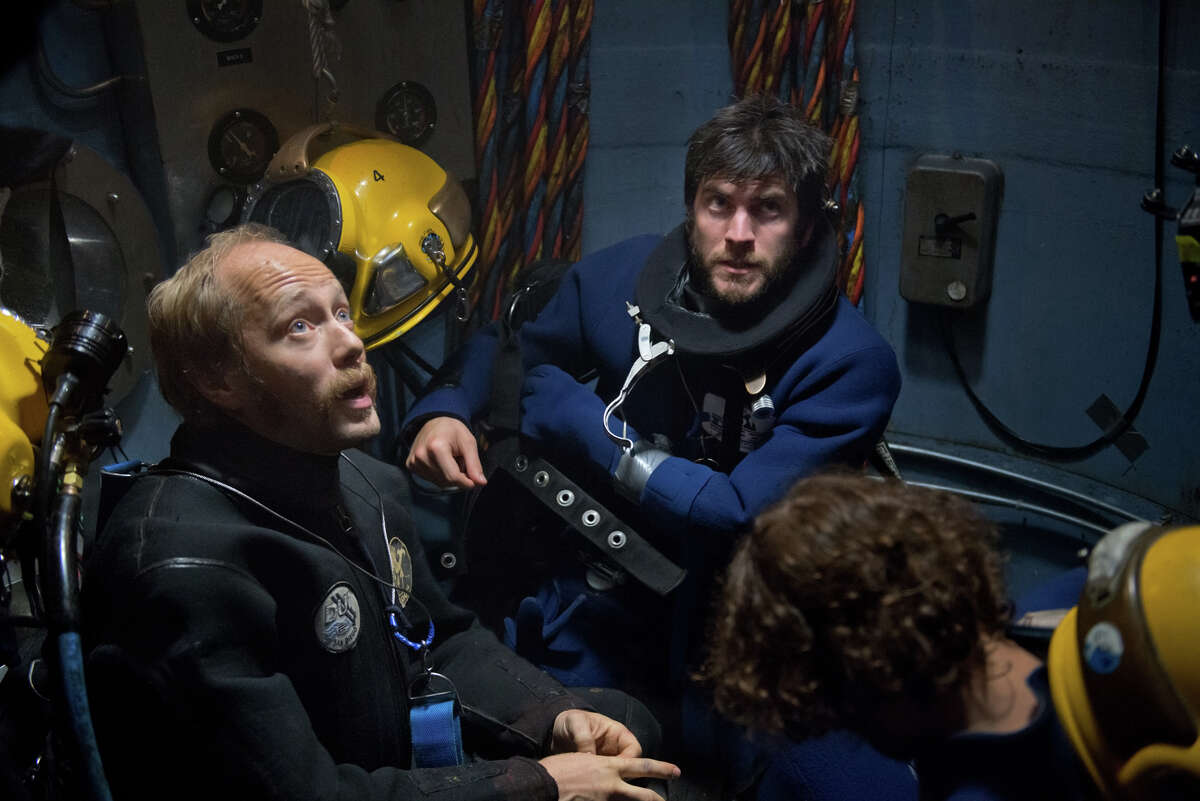 Aksel Hennie (left) is a beleaguered deep-sea diver and Wes Bentley an American villain in