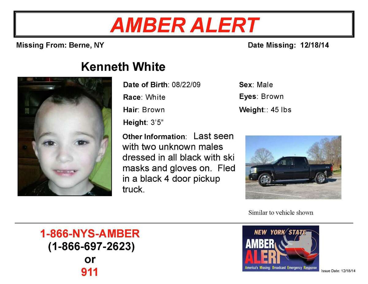 Amber Alert seeks to locate 5-year-old Kenneth White of Berne. (State Police)