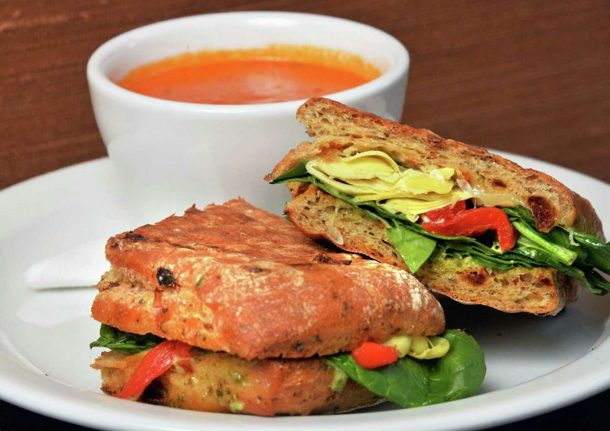 Garden panini with roasted red pepper and smoked Gouda soup at the Whistling Kettle on Broadway Friday Dec. 12, 2014, in Troy, NY. (John Carl D'Annibale / Times Union)
