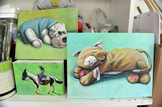 Paintings by artist Jennifer Maher are seen in her studio on Wednesday, Dec. 10, 2014, in Ballston Spa, N.Y.  (Paul Buckowski / Times Union) Photo: Paul Buckowski / 00029792A