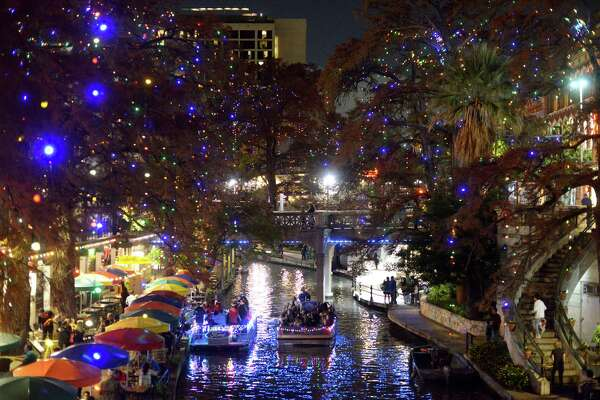 The River Walk Christmas lights are all aglow on Dec. 11, 2014.