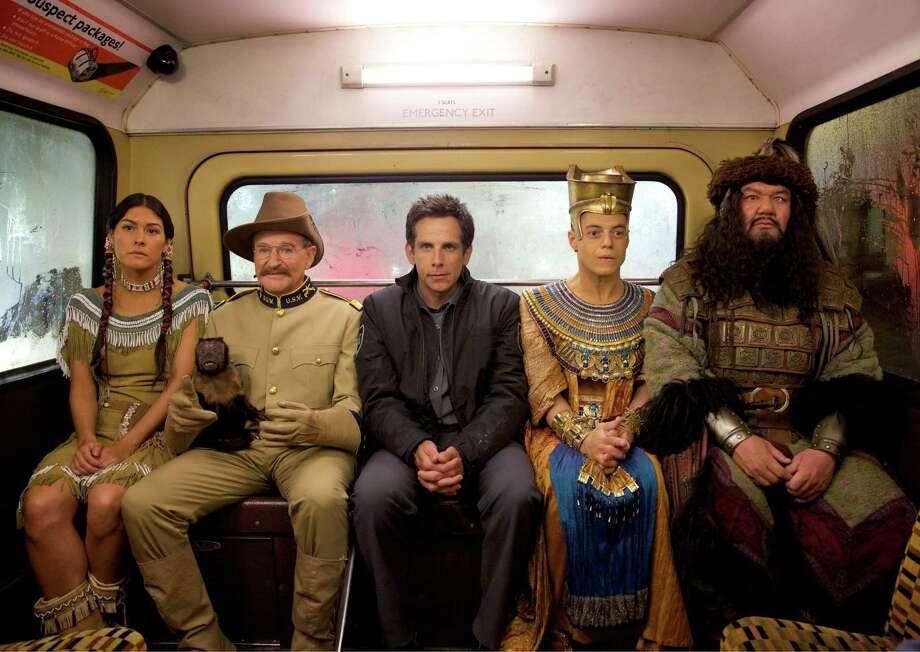 "In this image released by 20th Century Fox, from left, Mizuo Peck, Robin Williams, Ben Stiller, Rami Malek and Patrick Gallagher appear  in a scene from ""Night at the Museum: Secret of the Tomb.""  (AP Photo/20th Century Fox, Kerry Brown) ORG XMIT: NYET180 Photo: Kerry Brown / 20th Century Fox"