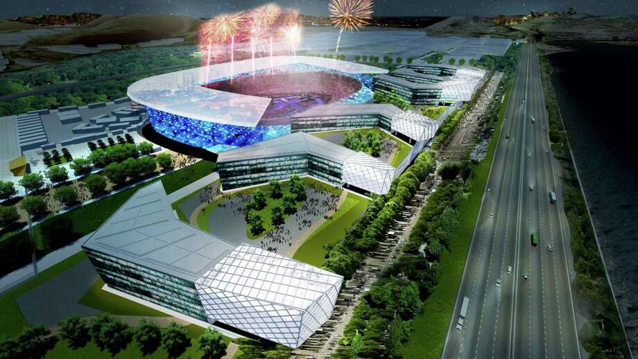 A rendering shows the proposed temporary stadium in Brisbane for the opening and closing ceremonies that was included in San Francisco's bid for the 2024 Olympic Summer Games. A hoped for Oakland stadium is now in play. Photo: Flavin, Kevin (US - San Francisc / SF Bid Committee / ONLINE_CHECK