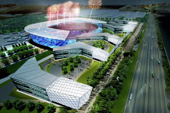 A rendering shows the proposed temporary stadium in Brisbane for the opening and closing ceremonies that was included in San Francisco's bid for the 2024 Olympic Summer Games. A hoped for Oakland stadium is now in play.