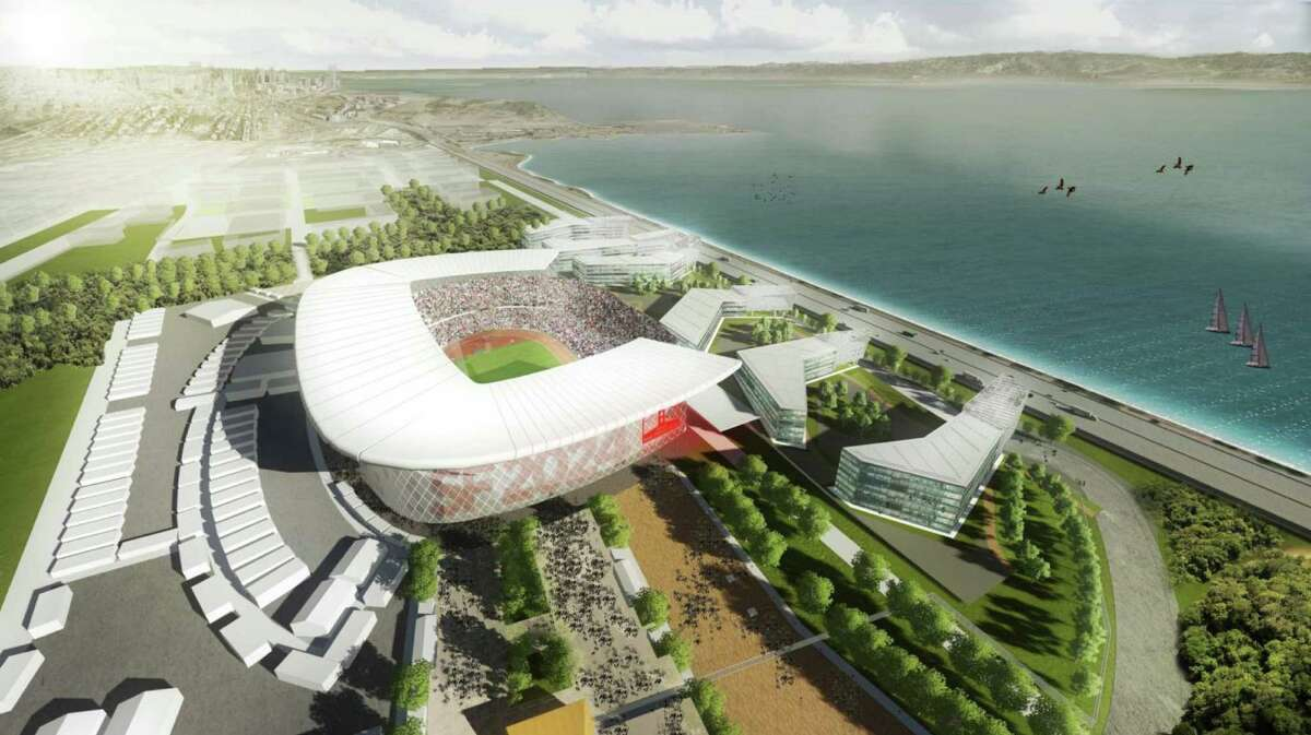 Rendering shows the proposed temporary stadium in Brisbane, for the opening and closing ceremonies included in San Francisco's bid for the 2024 Olympic Summer Games.