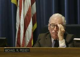 Michael Peevey, former California Public Utilities Commission president, at his last commission meeting in San Francisco in December.