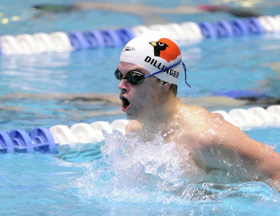 Thomas Dillinger of Greenwich High School competes in the 200 yard individual medley during the State Open Boys High School Swimming Championships at Yale University in March. Photo: Bob Luckey / Greenwich Time