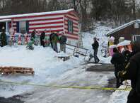 This is the home on Thacher Park Road in the town of Knox where  5-year-old Kenneth White was killed Thursday, Dec. 18, 2014. Knox town officials then declared the trailer unsafe to live in because of a faulty wood burning stove and electrical problems  (Tom Heffernan Sr. / Special to the Times Union)