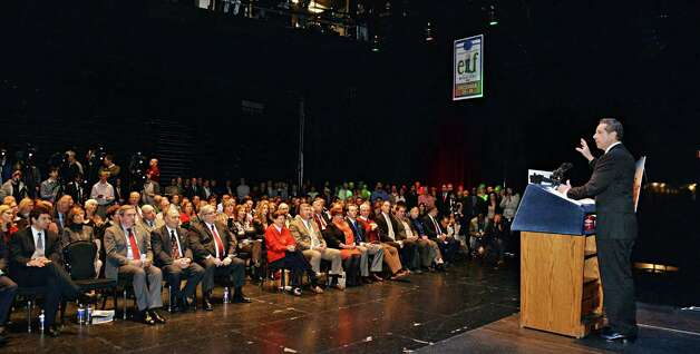 Gov. Andrew Cuomo speaks during a celebration of the selection of Schenectady as the Capital Region site for the Rivers Casino at Mohawk Harbor Thursday, Dec. 18, 2014, in the GE Theatre at Proctors in Schenectady, NY.  (John Carl D'Annibale / Times Union) Photo: John Carl D'Annibale / 00029921A